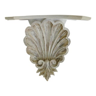 Vintage Sculptural Carved Shell Wall Sconce Bracket Shelf