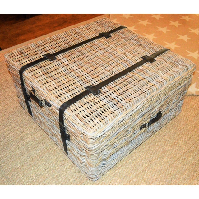 Boho Chic Woven Rattan Coffee Table Trunk For Sale - Image 11 of 13