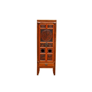 Tall Ornately Carved Asian Bar Cabinet For Sale