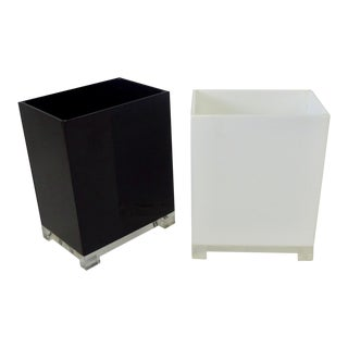 Pair of Acrylic Lucite Waste Baskets Black White Trash Cans For Sale