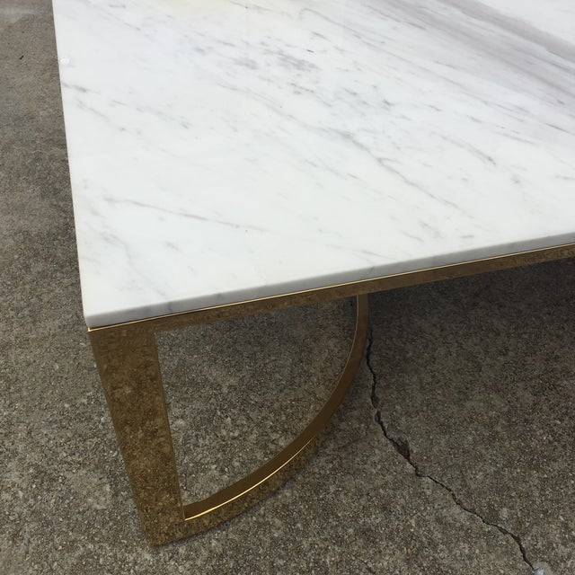 Bernhardt Marble & Brass Large Coffee Table For Sale - Image 5 of 6