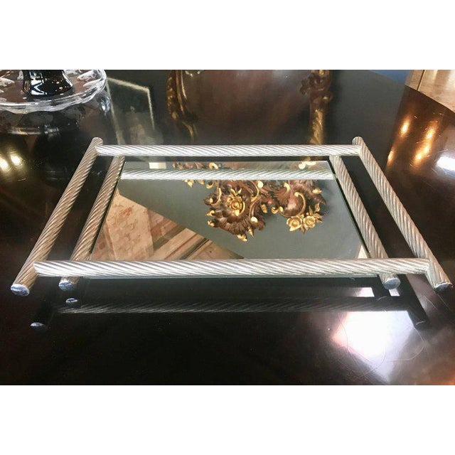 Italian rectangular tray with spiral silver frame, 1960s.