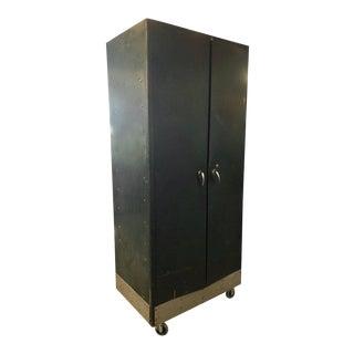 Storage Cabinet Vintage Steel Locker Unit of Steel on Wheels; Shelves and Closet