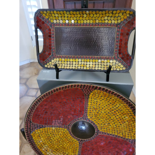 Colorful Medallion and Matching Plate with Stand, India -Set of 2 For Sale - Image 12 of 13
