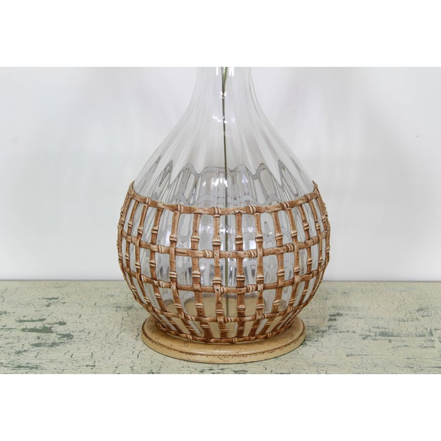 Mid century glass table lamp with faux bamboo motif This lamp is wired and in working condition, the faux bamboo details...