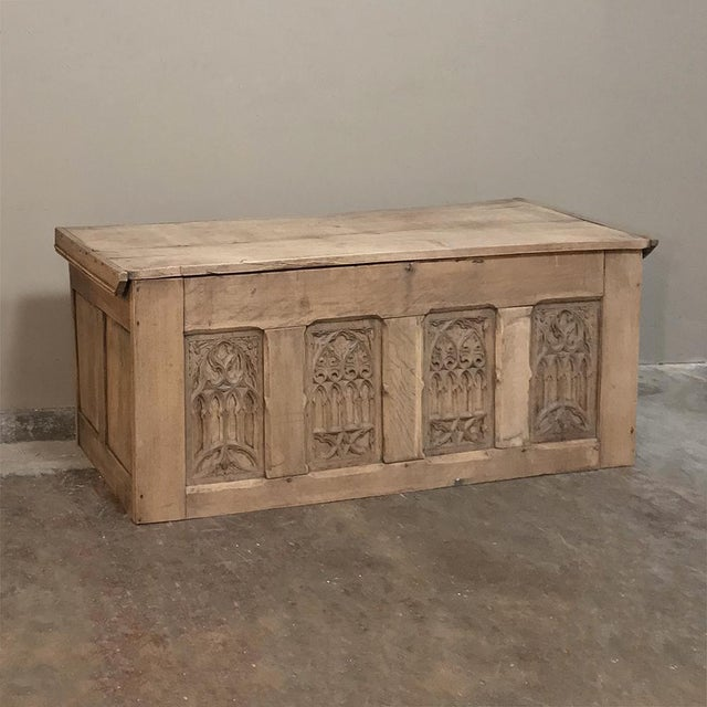 Mid 19th Century Trunk, 19th Century Rustic Gothic in Stripped Oak For Sale - Image 5 of 12