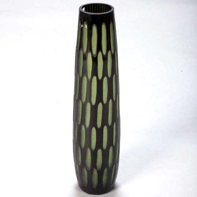Mid-Century Black & Green Case Glass Vase - Image 6 of 6