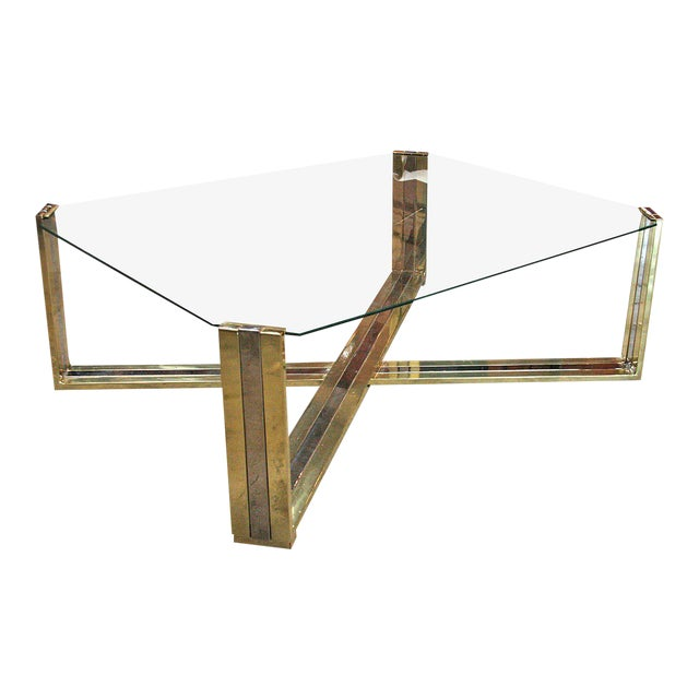 Italian Coffee Table Brass and Steel, 1960s For Sale
