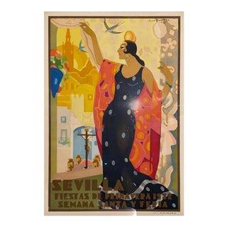 1932 Juan Bacera's Fiesta De Primavera Art Deco Lithographic Poster, Framed For Sale