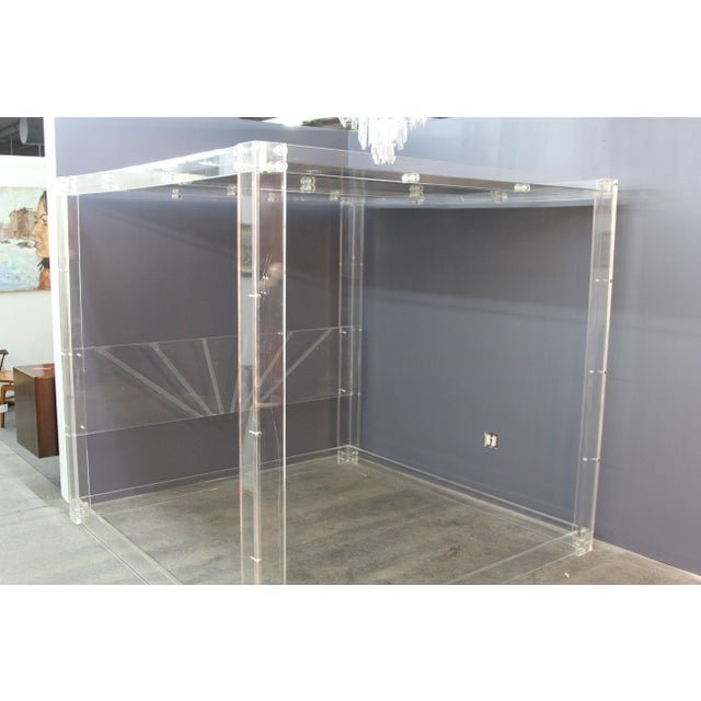 Lucite and Mirrored Top King Size Bed For Sale - Image 11 of 11