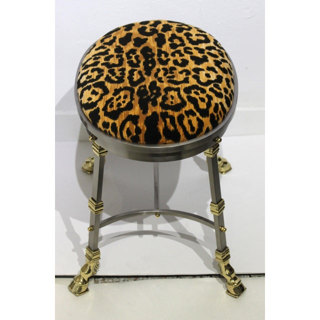 Brass Vintage Maison Jansen Style Oval Stool Polished Steel & Brass Leopard Upholstery For Sale - Image 8 of 13