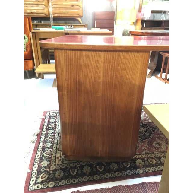 1950s 1950s Mid-Century Modern Oak and Red Laminate Writing Desk For Sale - Image 5 of 9