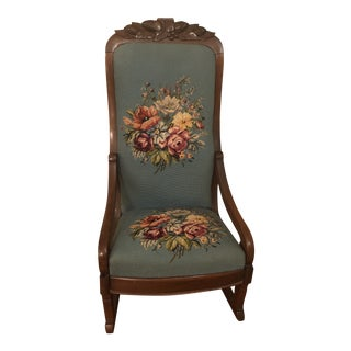 1930s Antique Victorian Needlepoint Rocking Chair For Sale