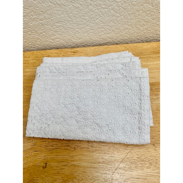 2010s Set of Four White Cotton Eyelet Napkins For Sale - Image 5 of 6