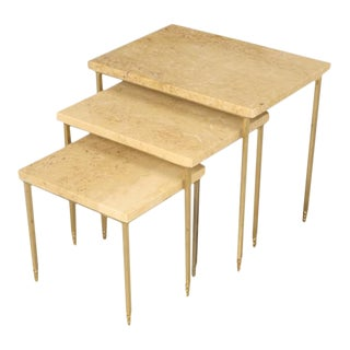 Set of 3 Mid-Century Modern Stone Brass Stacking Tables For Sale