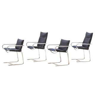 1970 Vintage Cosco Mid-Century Modern Chrome Cantilevered Chairs - Set of 4
