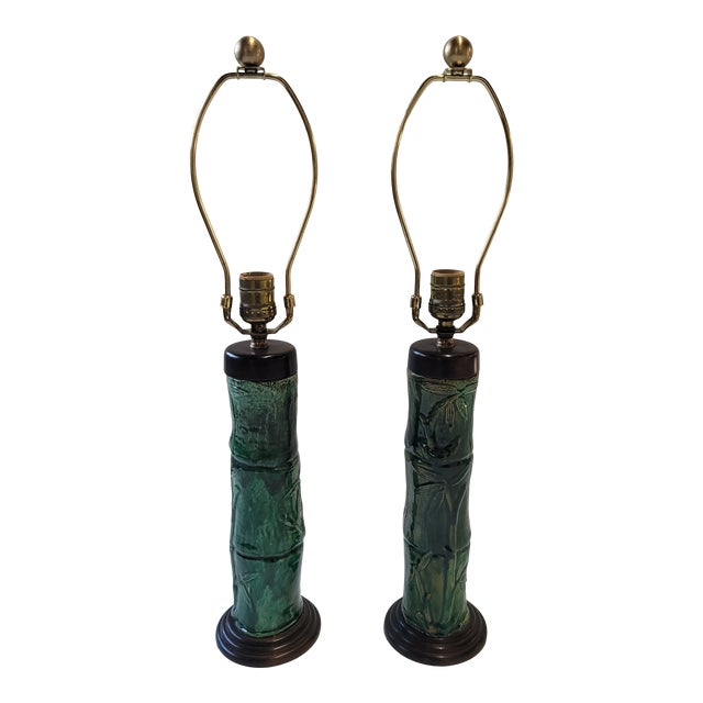 1970s Faux Bamboo Green Glazed Ceramic Lamps - a Pair For Sale