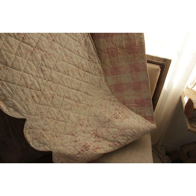 A beautiful find!! This textile is an antique French bed valance dating from the late 1700's or very early 1800's. A...
