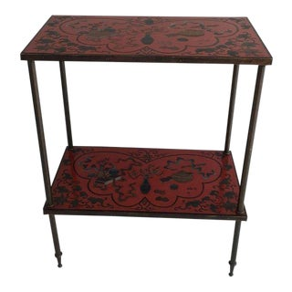 Red Lacquered Cloisonné End Table