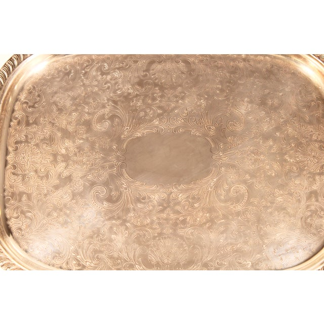 Leonard 1980s English Silver Plate Footed Serving Tray With Handles For Sale - Image 4 of 11