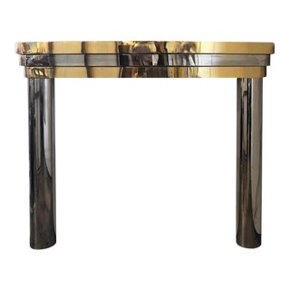 1960s Brass and Chrome Fireplace Mantel For Sale