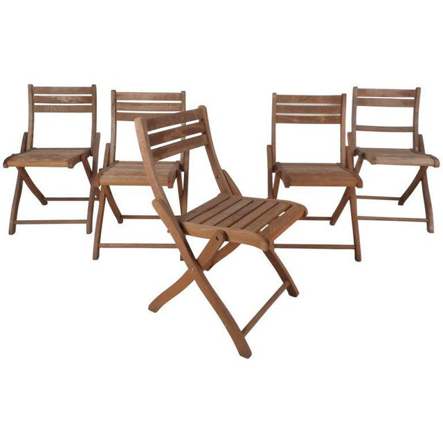 Vintage Modern Wood Folding Chairs - Set of 5 For Sale - Image 11 of 11
