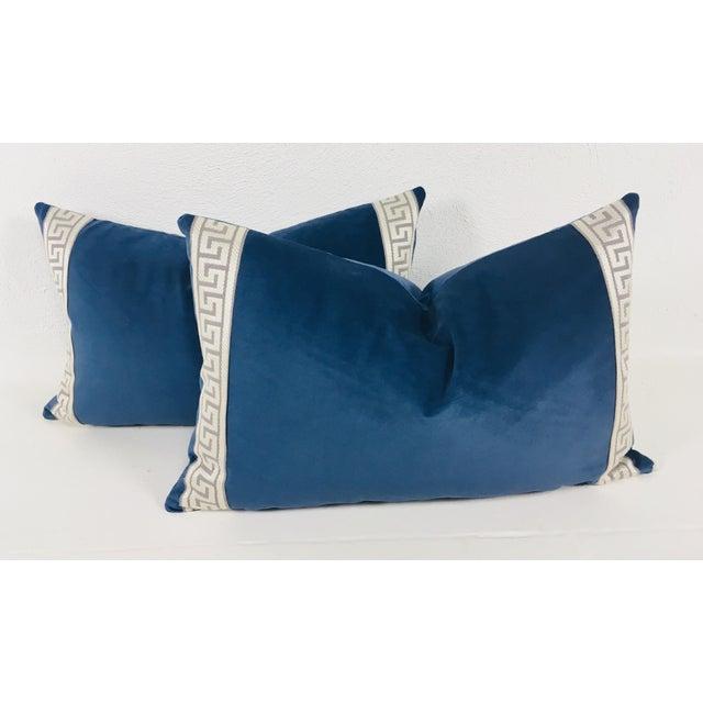 2010s Royal Blue Plush Velvet Lumbar Pillows - a Pair For Sale - Image 5 of 5