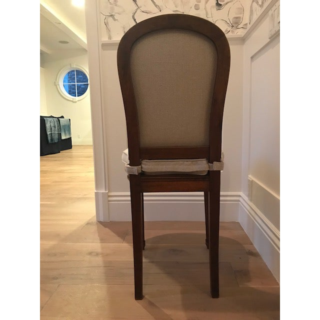 Antique Belgian Linen Dining Chairs - a Pair For Sale - Image 4 of 7