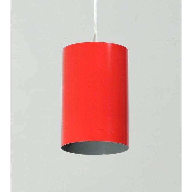 Louis Poulsen Louis Poulsen set of 8 Minimalist Pendants in Red, Denmark, 1960s For Sale - Image 4 of 6