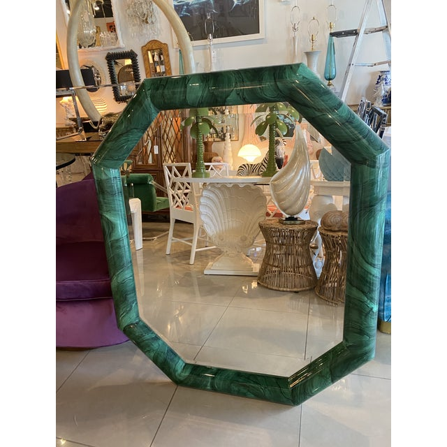 Hollywood Regency Vintage Large Green Faux Malachite Vertical or Horizontal Octagon Wall Mirror For Sale - Image 3 of 13