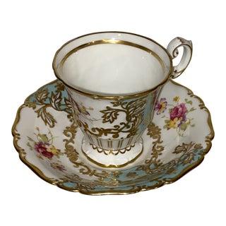 Vintage 1850 Eb Foley Bone China Flowers & Gold Trim Tea Cup & Saucer For Sale