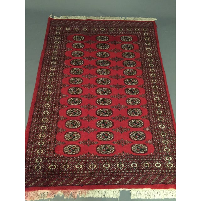 Red Hand Knotted Woolen Bokhara Rug - 4' x 6' For Sale - Image 8 of 10
