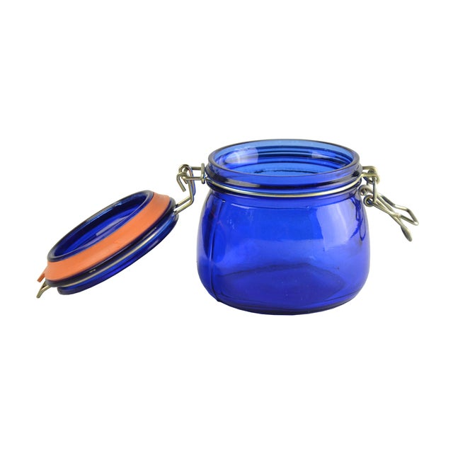Country Cobalt Blue Glass Canister For Sale - Image 3 of 3