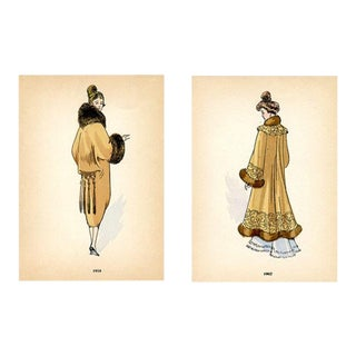 French Fashions From the Early 1900s, Prints - a Pair For Sale