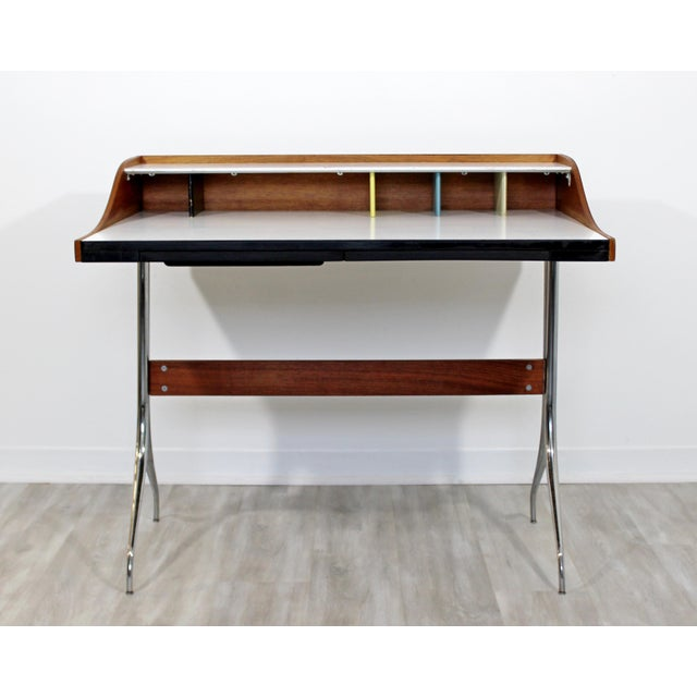 Mid-Century Modern Early Production George Nelson Herman Miller Swag Leg Desk For Sale In Detroit - Image 6 of 13