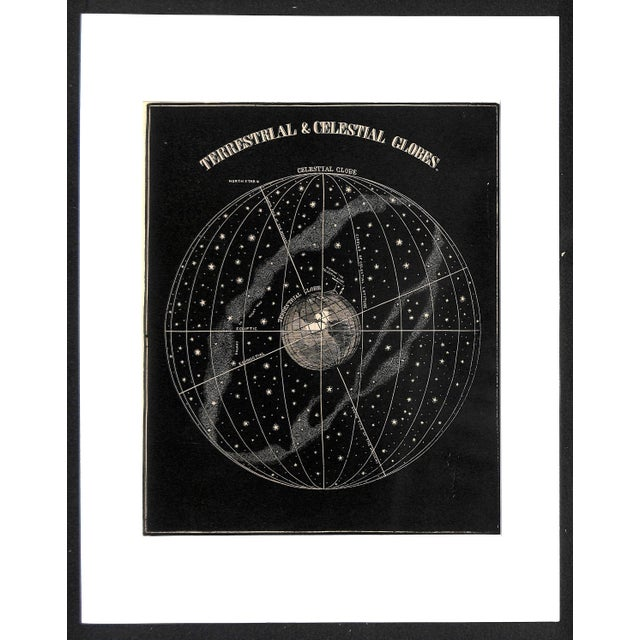 """Antique wood engraving titled, """"Terrestrial & Celestial Globes"""" from Asa Smith's """"Illustrated Astronomy"""" textbook (1889)...."""