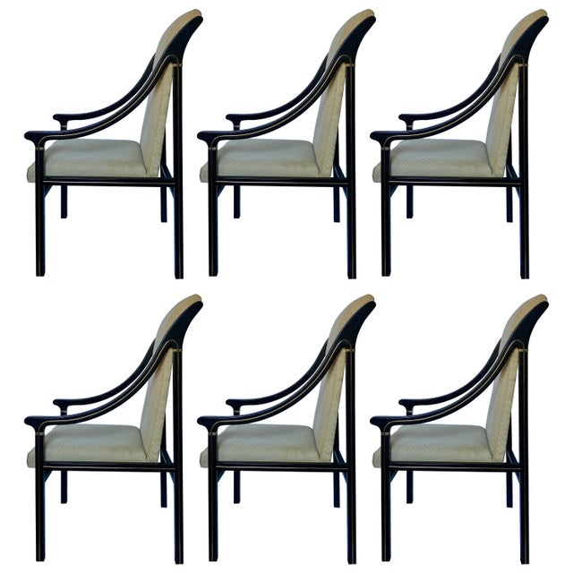 1970's Mastercraft Dining Chairs, Black and Brass, Set of Six For Sale - Image 11 of 11
