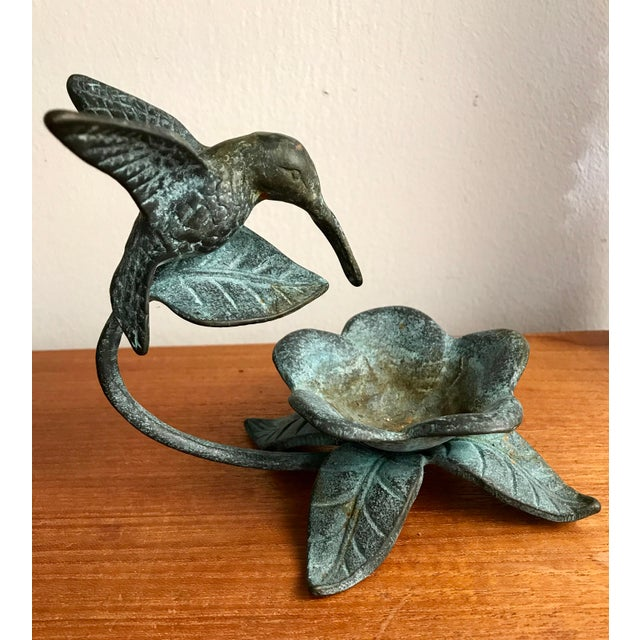 Boho Chic Cast Iron Hummingbird Garden Accent/Feeder For Sale - Image 3 of 6