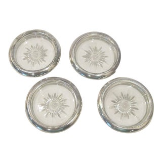 Mid-Century Silver Plate Glass Drink Coasters - Set of 4 For Sale