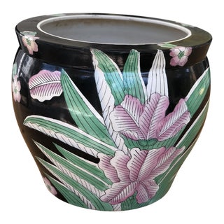 Late 20th Century Chinese Famille Noir Hand Painted Ceramic Fish Bowl Jardinière Planter For Sale