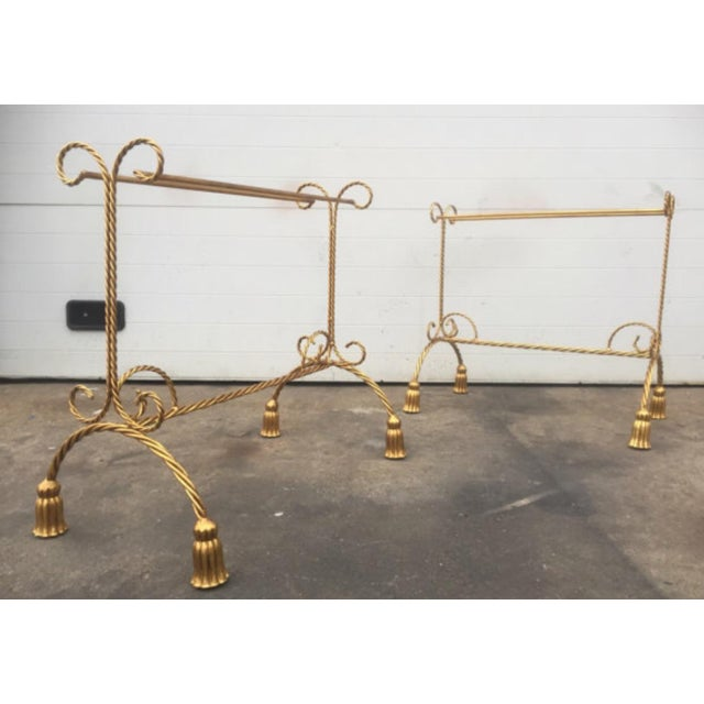 This listing is for one metal Gold Gilt Hollywood Regency Style Tassel Towel Rack. This piece is in excellent used...