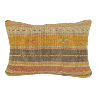 Old Pale Kilim Rug Lumbar Throw Pillow Cover, Wool Farmhouse Decor, Antique Turkish Pillow With Tribal Design 14'' X 20'' (35 X 50 Cm) For Sale