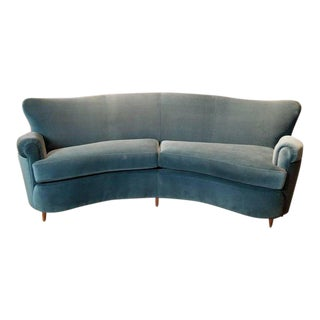 Fully Restored 1950s Vintage Ico Parisi Style Italian Curved Sofa