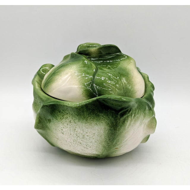 Mid 20th Century 20th Century Cottage White and Green Holland Mold Cabbage Dish For Sale - Image 5 of 11