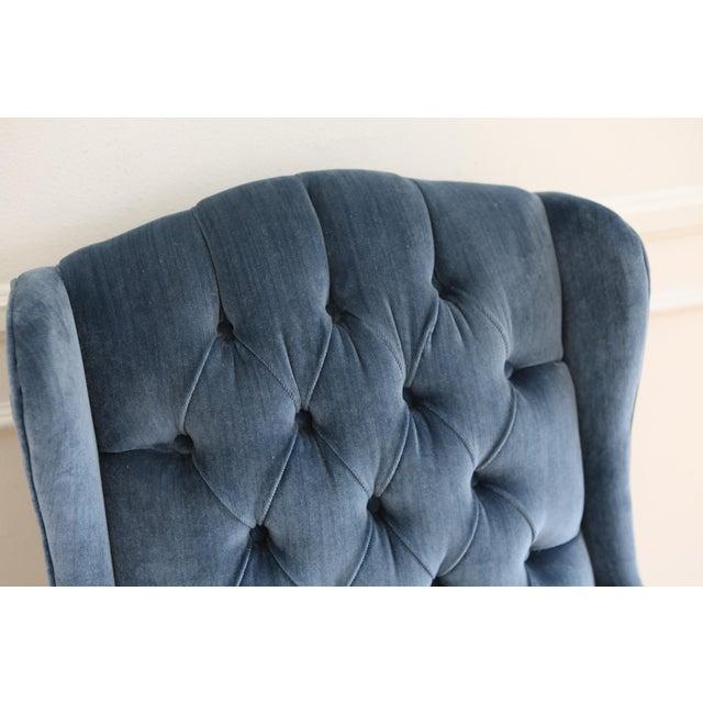 Textile Vintage Blue Navy Tufted Velvet Wingback Chair For Sale - Image 7 of 8