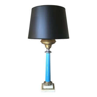 1950s French Empire Blue Opaline Glass Table Lamp With Black Shade