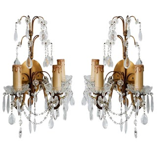 French Three-Arm Crystal and Brass Sconces - A Pair For Sale