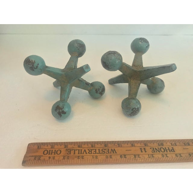 Fun Scale Cast Iron Turquoise Jacks - a Pair For Sale - Image 4 of 11