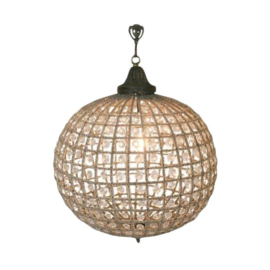 Antique Reproduction French Beaded Globe Chandelier For Sale