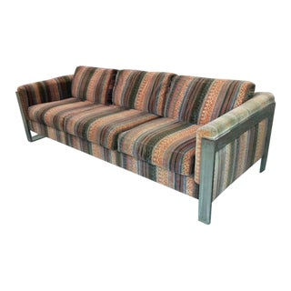 1970s Original Milo Baughman Chromium Steel Larsen Upholstery Selig Sofa For Sale